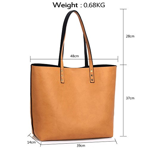 Trend Star Women Handbags Ladies Shoulder Tote Grab designer bags leatherette A - Schwarz/Nude