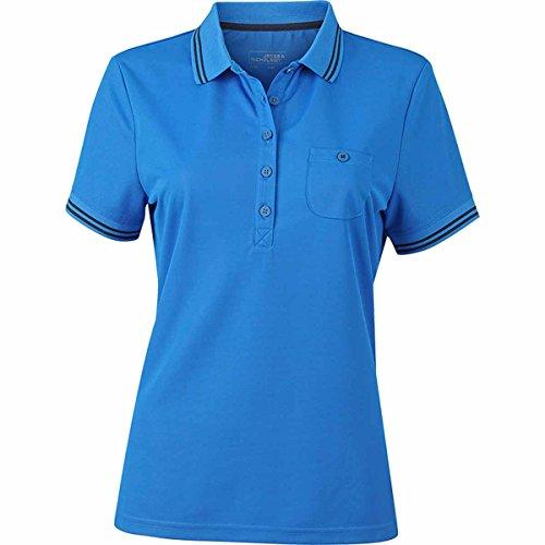 JAMES & NICHOLSON - polo sport - trekking - micro-polyester respirant protection UV- manches courtes - JN701 - Femme bleu cobalt et marine