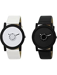 Xforia Boys Watch Stylish Black & White Leather Analog Watches For Men Pack Of 2 Low Price