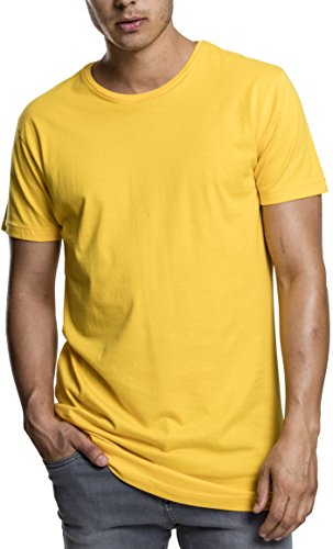 Urban Classics Herren Regular Fit T-Shirt Shaped Long Tee, Gelb (Chrome Yellow 1148), Large (Gelbes T-shirt Tee)