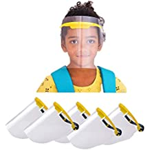 Mediweave Reusable Kids Face Shield Safety Mask, 2 sided Peel Off Layer (Pack of 5, Yellow),(PP & PC Material)