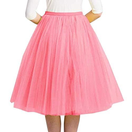 WOZOW Damen Tuturock Multi-Schichten Elegant Kleid Tüllrock Brautrock Abendkleid Festliche Karneval Fasching Kostüm Röckchen Frauen Tanzkleid (Rosa) (Naruto Cosplay Kostüme Billig)