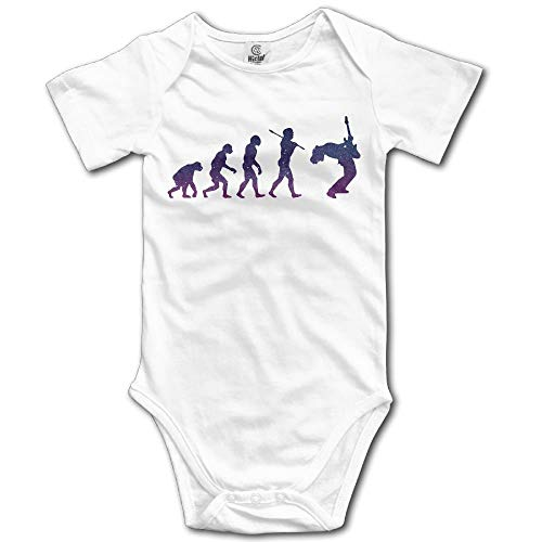 TKMSH Evolution of A Guitar Player Boy's & Girl's Short Sleeve Baby Climbing Clothes White -