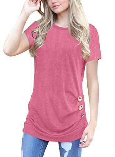 Lylafairy Rosa Oberteile, Damen Rundhals Ausschnitt Kurzarm Basic T-Shirt (44, Rosa) (Shirts Fruchtbarkeit)