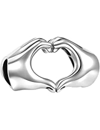 Soufeel 925 Sterling Silber Finger Herz Damen-Beads Charms