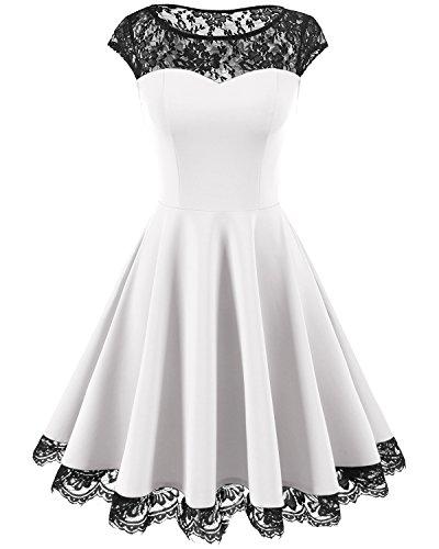 HomRain Damen 1950er Elegant Spitzenkleid Rundhals Knielang festlich Cocktail Abendkleid White M (Weißes Kleid Frauen Party)