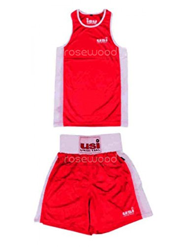 ROSEWOOD Men's USI Boxing Vest and Shorts (38, Red)