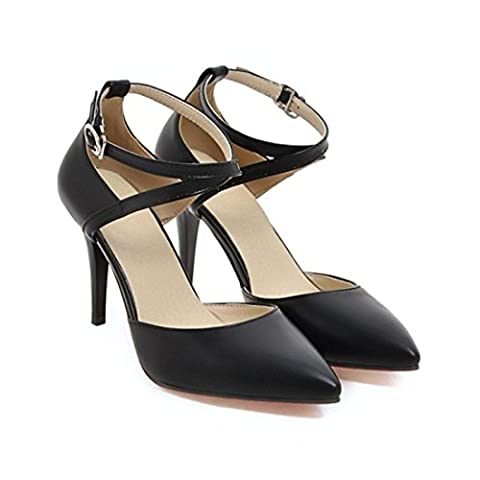 Women Two Piece Heels Pointed Toe Buckle Strap Pumps Shoes Black / US 7.5