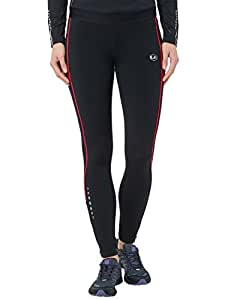 Ultrasport Damen Laufhose gefüttert mit Quick-Dry-Funktion lang, black red, XS, 380100000208