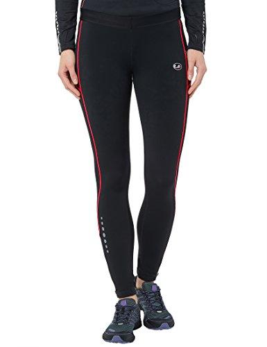 Ultrasport Damen Laufhose gefüttert mit Quick-Dry-Funktion lang, black red, M, 380100000210 (Damen Lange Laufhose)