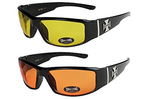 X-CRUZE 2er Pack Choppers 6608 X03 Sonnenbrillen Unisex Herren Damen Männer Frauen Brille - 1x Modell 12 (schwarz glänzend/gelb getönt) und 1x Modell 11 (schwarz glänzend/orange getönt)