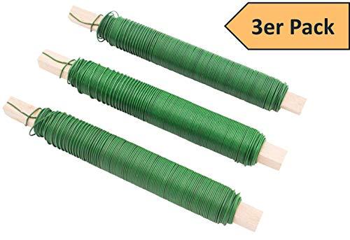 3er SET Wickeldraht Bindedraht Basteldraht Farbe grün, Stärke 65mm je 100g auf Holzstab gewickelt Gartendraht Floristendraht für Blumen