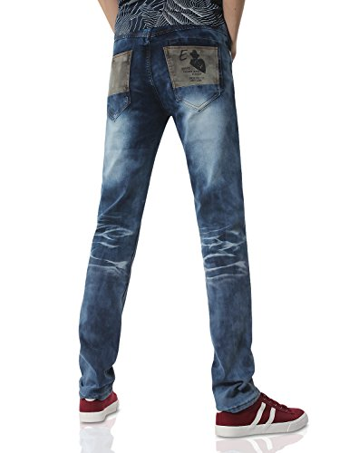 Demon&Hunter 817 Mince Séries Pour des hommes Extensibles Ample Jeans DH8117 x Bleu