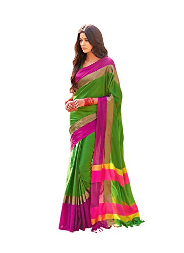 Miraan Women's Cotton Saree With Blouse Piece (Aangi_Green_One Size)