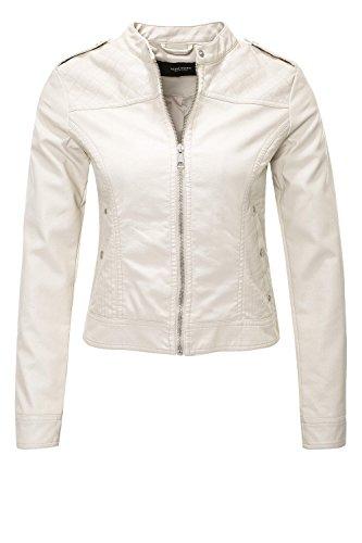 VERO MODA Damen Jacke Vmalice Short Faux Leather Jacket Boos, Elfenbein (Oatmeal Oatmeal), 40 (Herstellergröße: L)