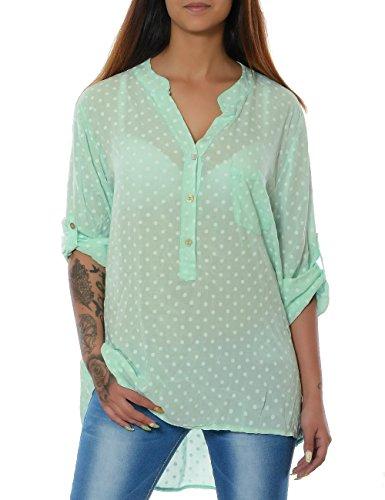Damen Bluse Casual Hemd Top Oberteil Long-Shirt Tunika 3/4 Arm No 15643 Mintgrün One Size