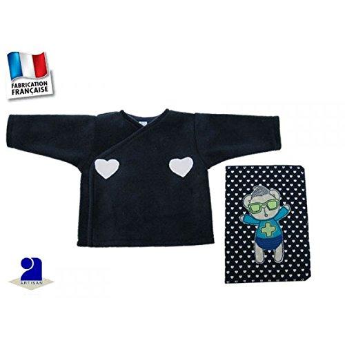 Poussin bleu - Brassière et protège carnet de santé, coeur bleu