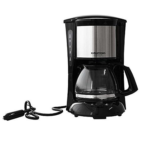 Grundig Machine à café avec verseuse en verre 6tasses pour le camion avec filtre permanent 24V/300W Voyage Camping Cafetière Cafetière filtre pour