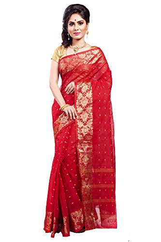 Loom&Crafts Women's Cotton Saree (Bdn-575_Red)