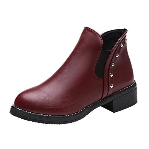 Elecenty stivali donna invernali eleganti scarpe da donna rivetti scarpe piatte martain stivali stivaletti in pelle scarpe con punta rotonda