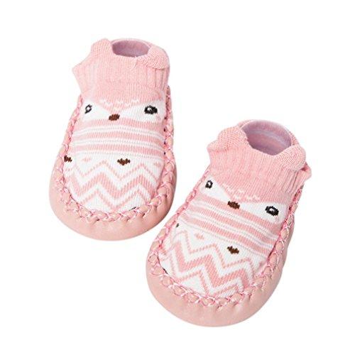 Janly Schuhe für 0-2 Jahre Baby, schöne Anti-Rutsch-Socken Slipper Neugeborenen Indoor Cartoon Tier Mokassins Stiefel Baumwolle Schuhe Junge Mädchen Socken (0-6 Monate, Rosa)