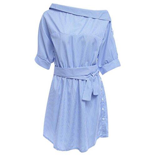 SYT Dress Art und Weise eine Schulter Blau gestreiftes Frauenhemd kleiden reizvolle Seite Spalte Elegantes halbes Hülsenbundell Beiläufige Strandkleider, S, a (Halbe Spalte)