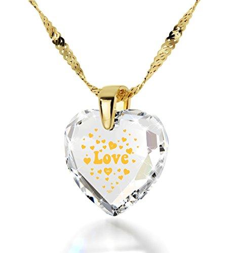 Collier I Love You Plaqué Or - Pendentif Zircon Cubique en Forme de Coeur avec inscription style années 60 en Or 24ct, Chaine en Or Laminé de 45cm - Bijoux Nano Transparent