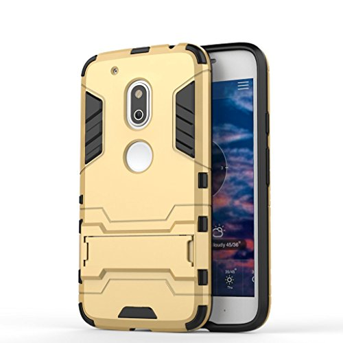Chevron Rugged Terrain Armor Protective Shockproof Kick Stand Back Cover Case for Motorola Moto G4 Play (Gold)  available at amazon for Rs.145