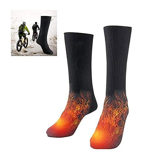 JYKOO Calzini Elettrici, Stivali Neri Cotone Invernali, Calzini Caldi a Batteria, per Uomo E Donna Caccia agli Sci Invernali Campeggio Escursionismo Equitazione Moto (batterie Escluse)