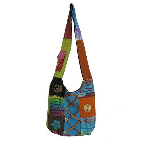 Patchwork Tasche Umhängetasche Handtasche Beuteltasche Tragetasche Schultertasche Shopper bestickt Farbe Schnürung (Patchwork-shopper)