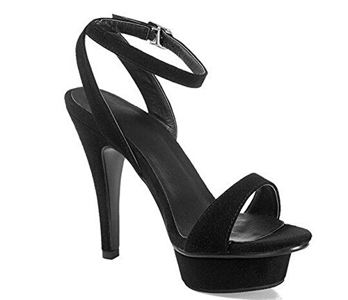 Beauqueen Plattform Peep-Toe Pumps Casual Work Sandalen Frauen Knöchelriemen Chunky Low Heel Elegantes Weiß Kuh Leder Khaki Schwarz Europa Größe 34-39 Black