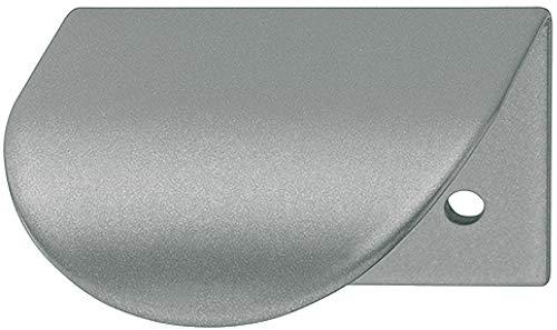 Gedotec Möbelgriff silber Schranktür-Griff Spiegeltür Griffleiste L-Form H10288 | Lochabstand: 32 mm | weiß-aluminium RAL 9006 | 1 Stück - Schrankgriffe gebogen für Schubladen & Küche -