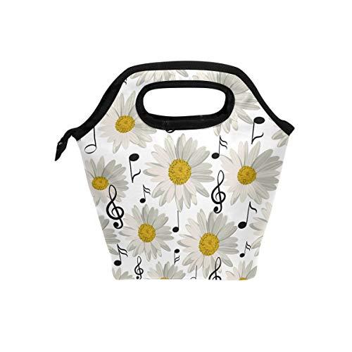 Bolsa de almuerzo con diseño de flores y notas musicales sin costuras,...