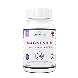 Oshunhealth 150mg High Absorption Formula Magnesium Citrate Tablets, 120 Tablets