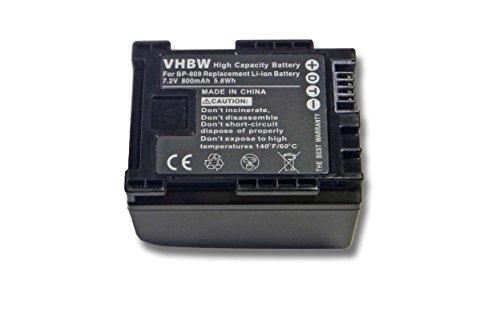 vhbw Li-Ion Akku 800mAh (7.2V) für Kamera, Video, Camcorder Canon Legria HF M306 HD, HF M31 HD, HF M36 HD, HF S10 HD, HF S100 HD wie BP-807, BP-809.