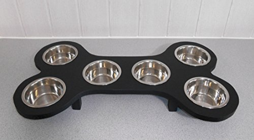 Welpenbar/ Welpennäpfe / Welpenfutter, tolle Futterbar mit 6 Edelstahlnäpfen mit je 350 ml. Handgefertigtes Hundezubehör und Tierbedarf. Lackierung in Schwarz! (Shw)
