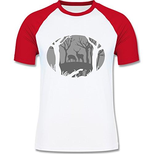 Wildnis - Hirsche - zweifarbiges Baseballshirt für Männer Weiß/Rot