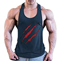 OULSEN Men Fitness Tank Top Muscle Tees Scratch Pattern 3D Printed Sleeveless T-shirt Bodybuilding Gym Vest Tops