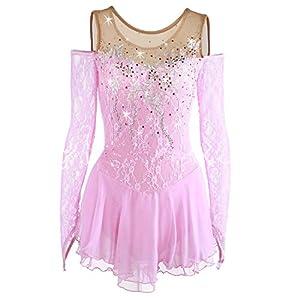Eiskunstlauf Kleid Für Mädchen, Handarbeit Rollschuhkleid Eislaufen Wettbewerb Performance Kostüm Mit Spitze Langärmelige Rosa