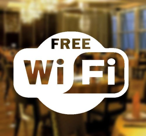 Free WIFI Window Sign Vinyl Sticker Graphics Cafe
