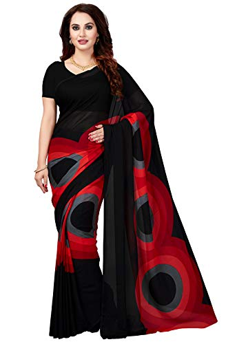 Ishin Poly Georgette Black & Red Printed Women's Saree/Sari