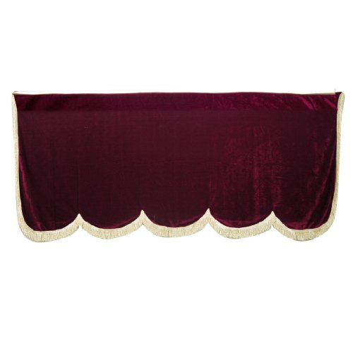 Como 75.6 x 32.3 Tassel Detail Trim Burgundy Pleuche Piano Half Cover