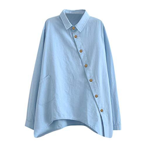 Zegeey Damen Langarmshirt Hemd Einfarbig Seitliche Tasten LäSsig Oberteil T-Shirt FrüHling Herbst Top Hemd Pullover Arbeit Outwear(Hellblau,EU-36/CN-M) Sherpa-taste