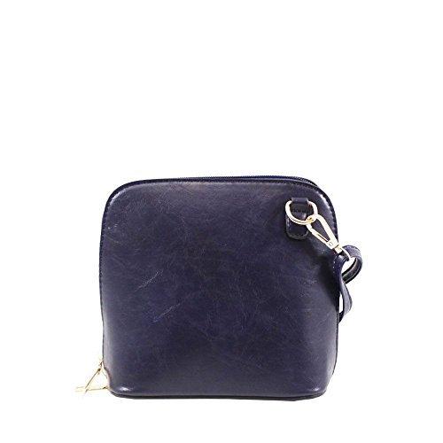 Haute für Diva S NEU einfarbig Kunstleder Damen klein Umhängetasche Schulter Handtasche - Dunkelgrün, Small Marine