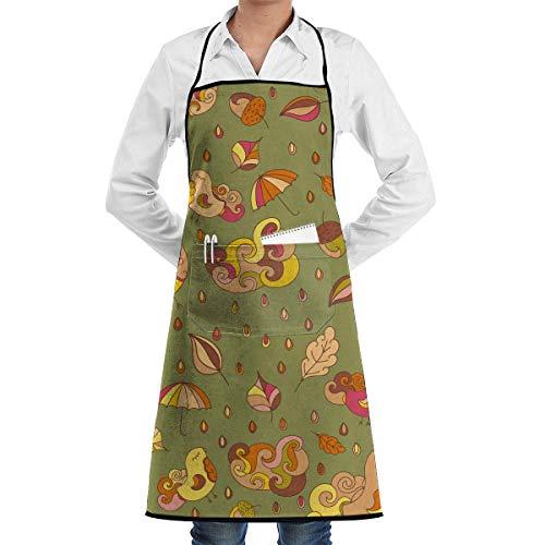 Adult Bird Kostüm Big - waitress aprons Pattern with Birds and Leafs.Autumn Aprons Bib for Mens Womens Cobbler String Adjustable Adult Kitchen Waiter Schürzen mit Taschen