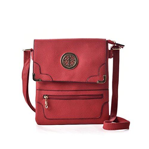 Premium Leather - Borsa a tracolla bambina donna unisex adulto Red