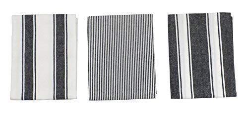 3 x à fine rayure rayures noir blanc 100% coton Cuisine Serviette à thé