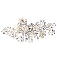 EVER FAITHŽ Women's Crystal Cream Simulated Pearl 5.1 In Elegant Flower Hair Side Comb Clear Silver-Tone
