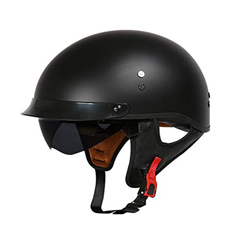 YAJAN-helmet Jet Vintage Helm Motorrad DOT Zertifiziert mit Integriertem Sonnenvisier UV schutzbrille Schnellverschluss für Herren Damen Pedallokomotive Cruiser Roller Chopper Pilot 57-64cm -