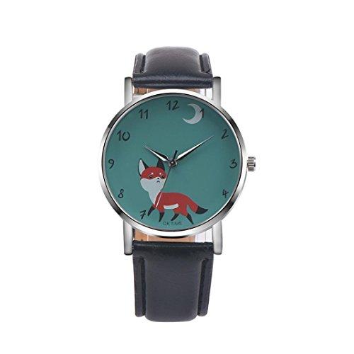 rosennie-retro-cartoon-fox-design-leather-band-analog-alloy-quartz-wrist-watch-black